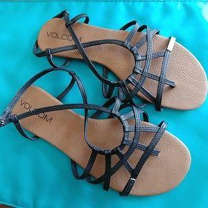 NWOT Volcom black sandals, 6